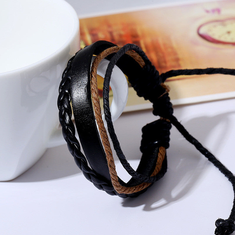 Simple Multilayer Woven Leather Bracelet - Oh Yours Fashion - 3