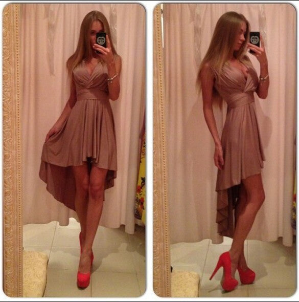 V-neck Pleated Chiffon Irregular Bandage Dress - O Yours Fashion - 1