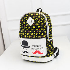 French Mustache and Stars Print Cute Canvas Backpack School Bag - Oh Yours Fashion - 2