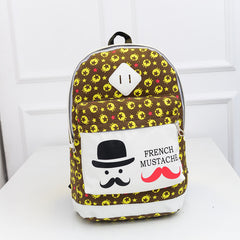 French Mustache and Stars Print Cute Canvas Backpack School Bag - Oh Yours Fashion - 4