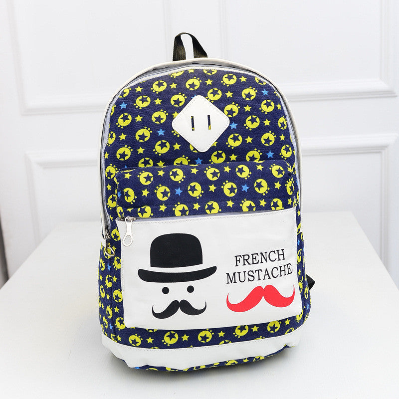 French Mustache and Stars Print Cute Canvas Backpack School Bag - Oh Yours Fashion - 1