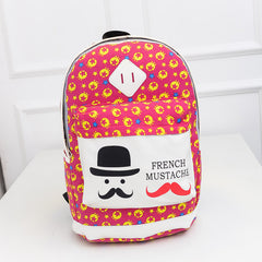 French Mustache and Stars Print Cute Canvas Backpack School Bag - Oh Yours Fashion - 3