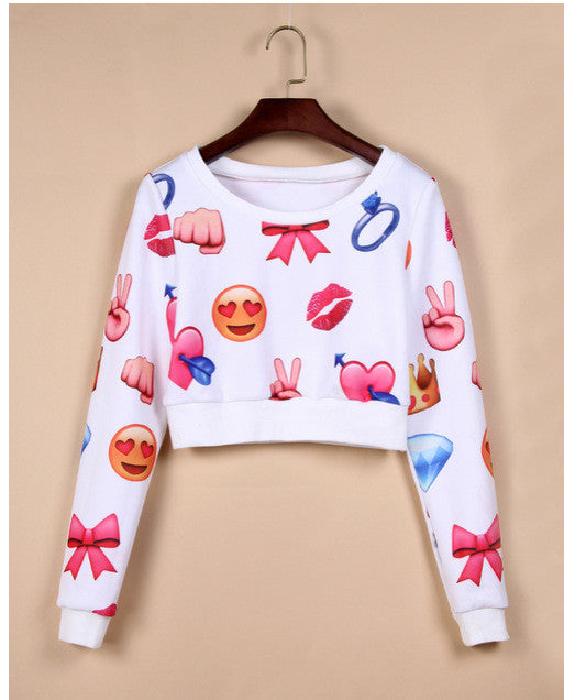 3D Flower Print Scoop Long Sleeves Fashion Sweatshirt - Oh Yours Fashion - 2