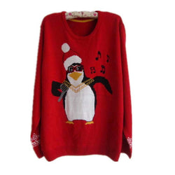 Plus Size Christmas Snowman Penguin Scoop Long Sleeve Sweater - Oh Yours Fashion - 1