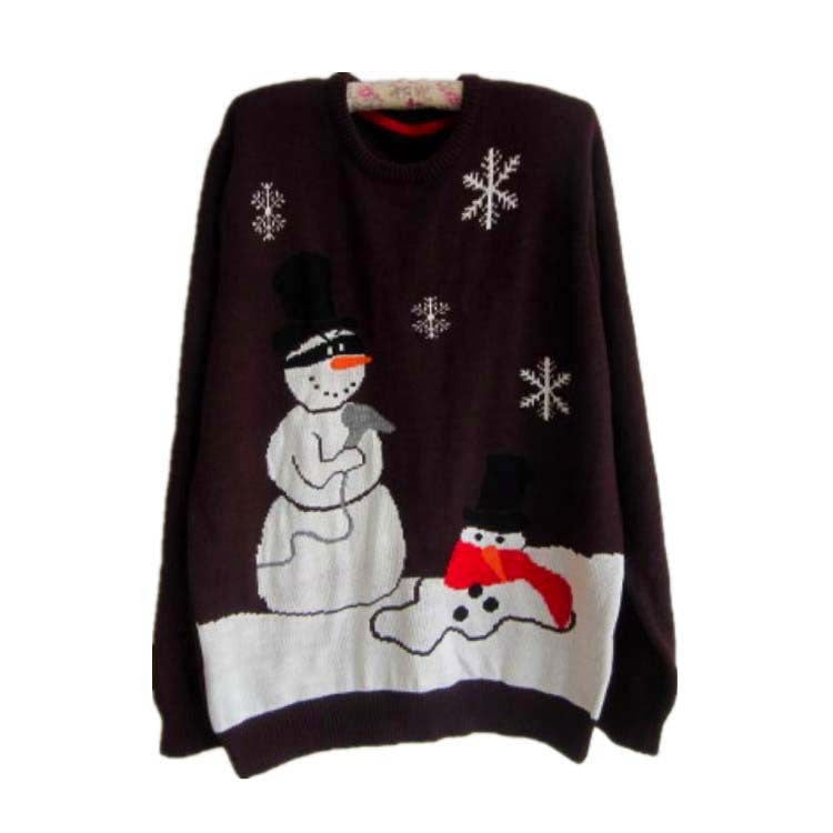 Plus Size Christmas Snowman Penguin Scoop Long Sleeve Sweater - Oh Yours Fashion - 3