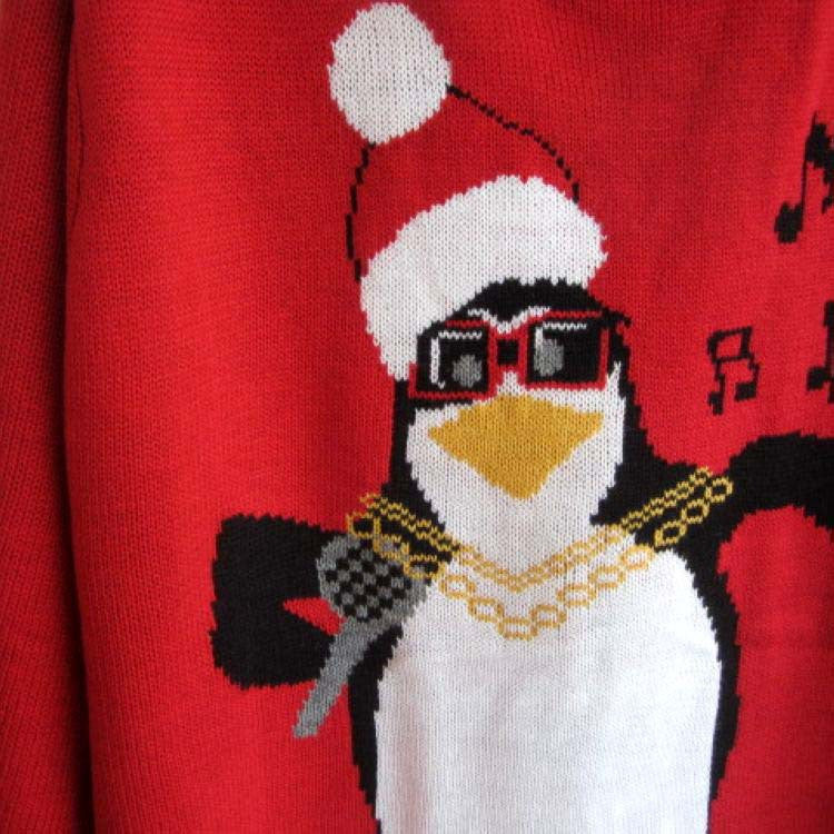Plus Size Christmas Snowman Penguin Scoop Long Sleeve Sweater - Oh Yours Fashion - 7