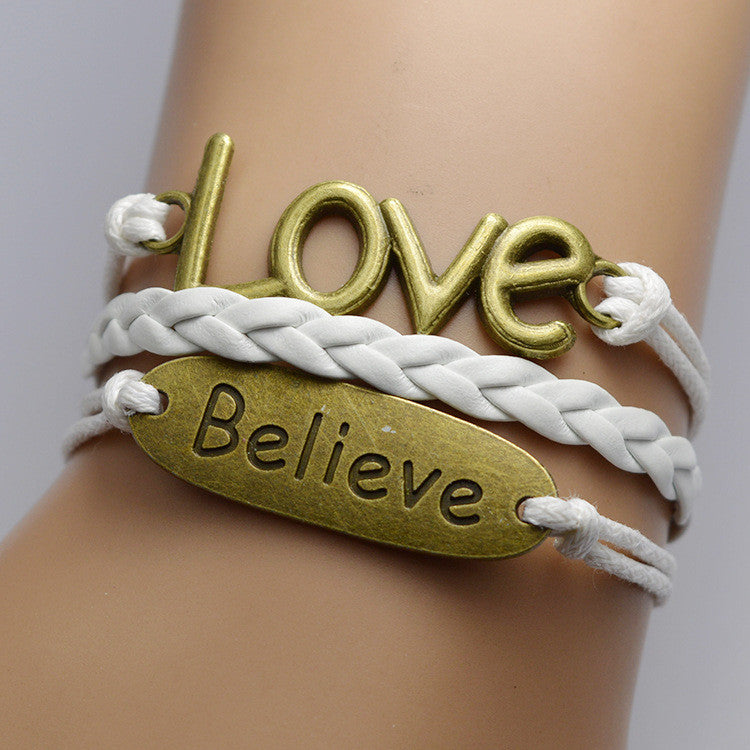 Believe Love Woven Multilayer Couple Bracelet - Oh Yours Fashion