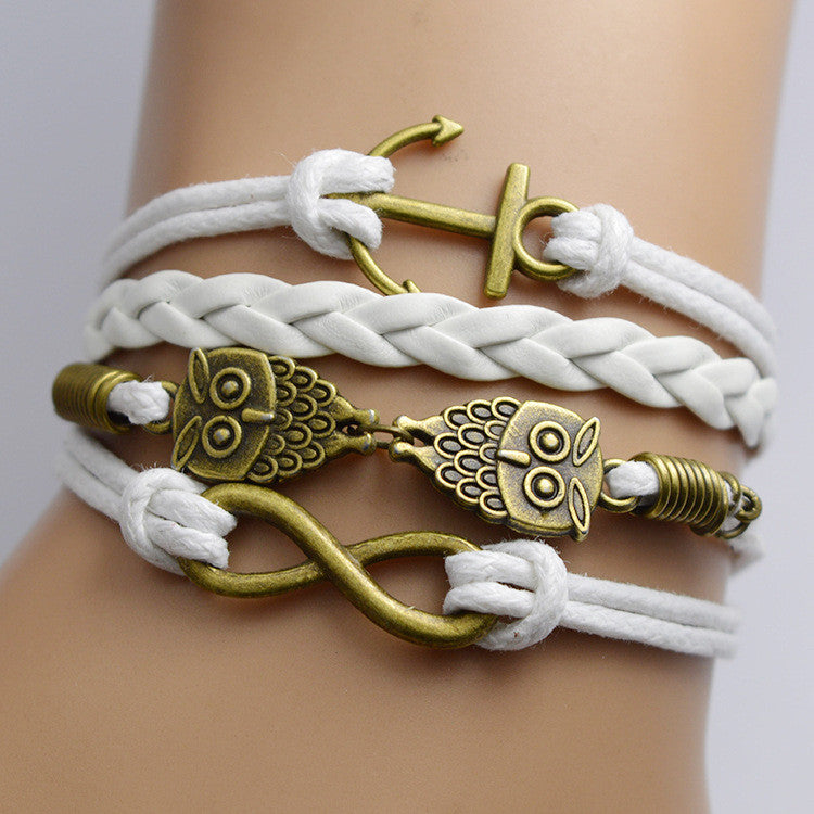 Retro Owl Anchor Multilayer Bracelet - Oh Yours Fashion