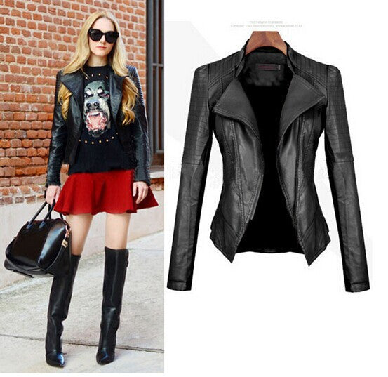 Turn Down PU Leather Womens Jacket - Oh Yours Fashion - 1