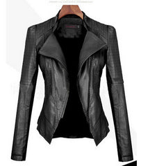 Turn Down PU Leather Womens Jacket - Oh Yours Fashion - 2