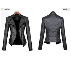 Turn Down PU Leather Womens Jacket - Oh Yours Fashion - 4