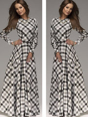 A-line Plaid Long Sleeves Long Party Dress - Oh Yours Fashion - 2