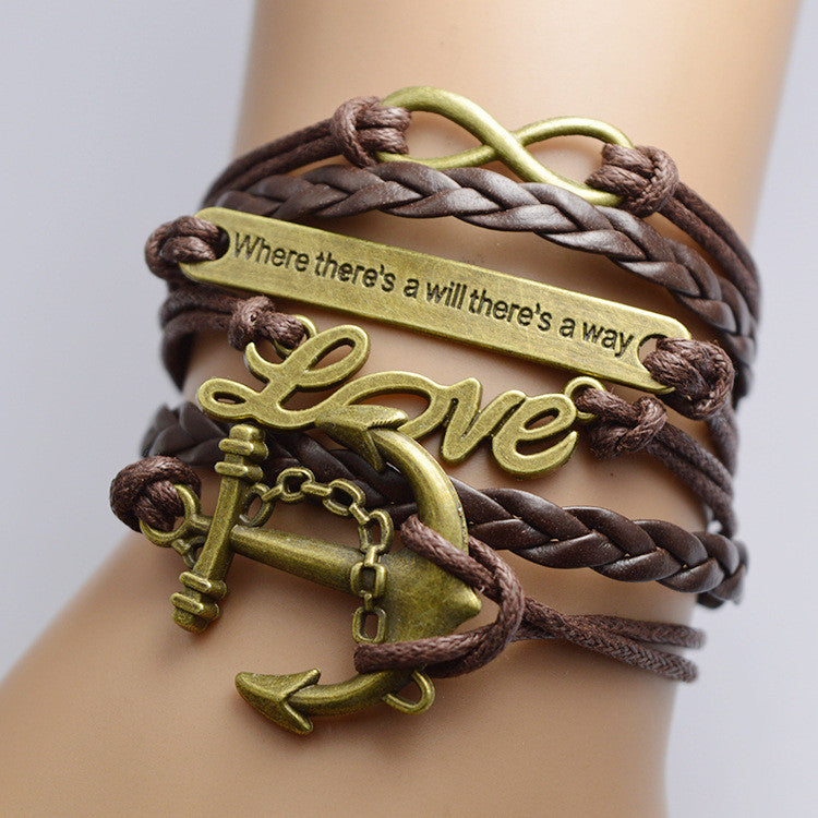 Anchor Love Retro Multilayer Bracelet - Oh Yours Fashion
