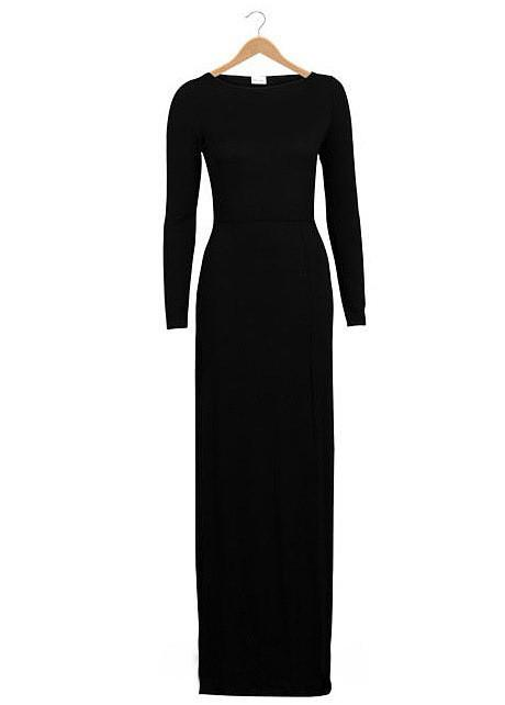 Pure Color Slim Slit O-neck Long Sleeve Long Dress - Meet Yours Fashion - 5