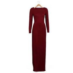 Pure Color Slim Slit O-neck Long Sleeve Long Dress