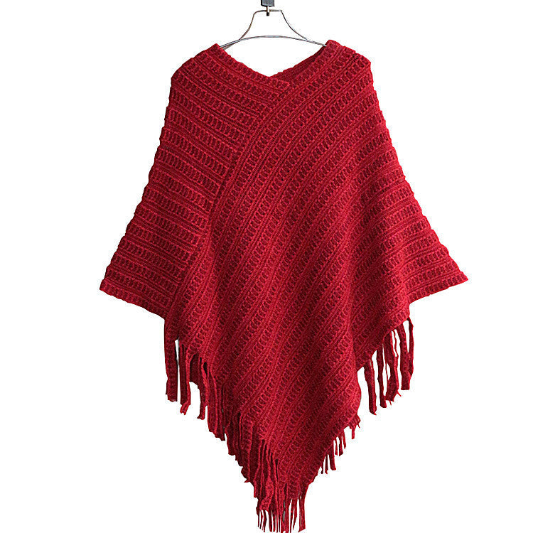 Tassel Shawl Loose Batwing Cloak Sweater - Oh Yours Fashion - 2
