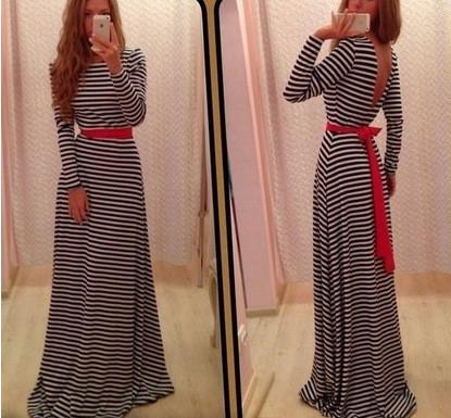 Long Sleeves Backless Stripe Long Loose Dress - Meet Yours Fashion - 2