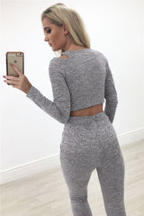 Bear Shoulder Deep V-neck Crop Top With Skinny Pants Two Pieces Set