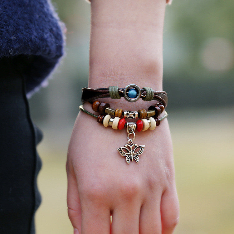 Butterfly Handmade Woven Leather Bracelet - Oh Yours Fashion - 2