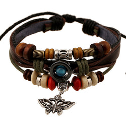 Butterfly Handmade Woven Leather Bracelet - Oh Yours Fashion - 1