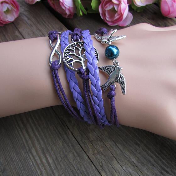 Purple Dove Tree Hand Woven Bracelet - Oh Yours Fashion