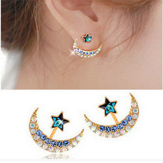 Color Crystal Moon Star Earrings - Oh Yours Fashion - 1