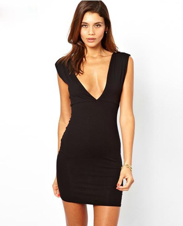 Deep V-neck Backless Hip Sleeveless Dress - MeetYoursFashion - 3