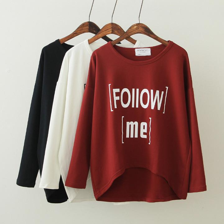 Women's Loose Letter Print Irregular T-shirt - Meet Yours Fashion - 1