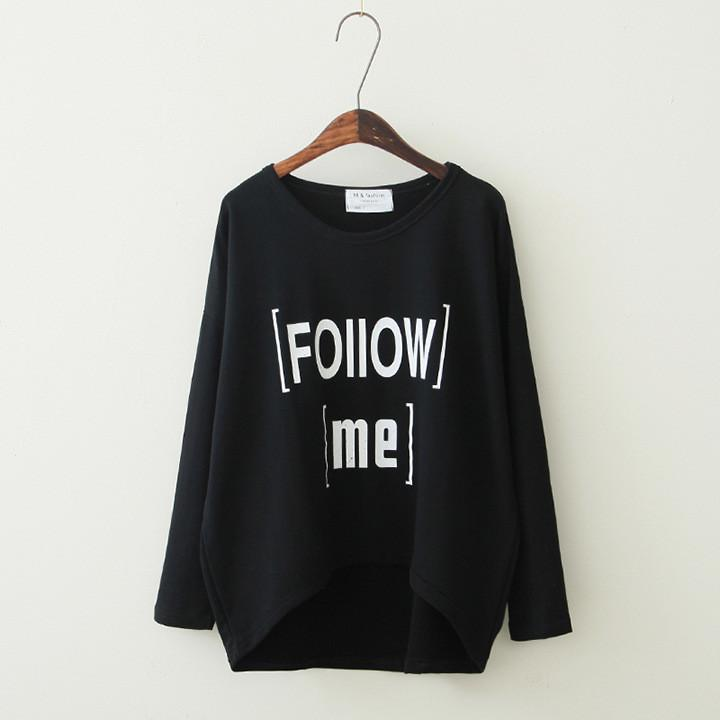 Women's Loose Letter Print Irregular T-shirt - Meet Yours Fashion - 4