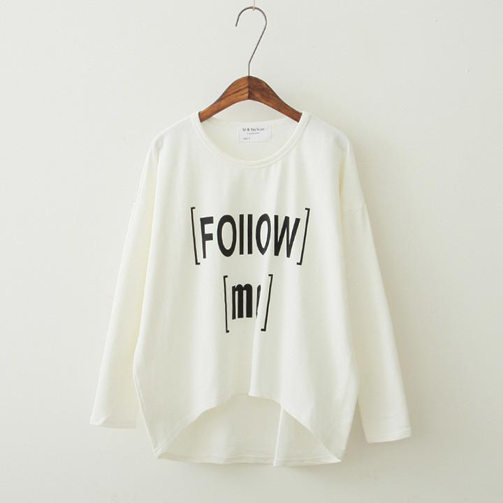 Women's Loose Letter Print Irregular T-shirt - Meet Yours Fashion - 3