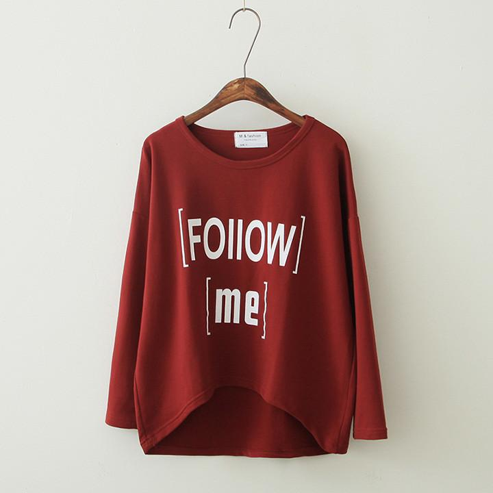 Women's Loose Letter Print Irregular T-shirt - Meet Yours Fashion - 2