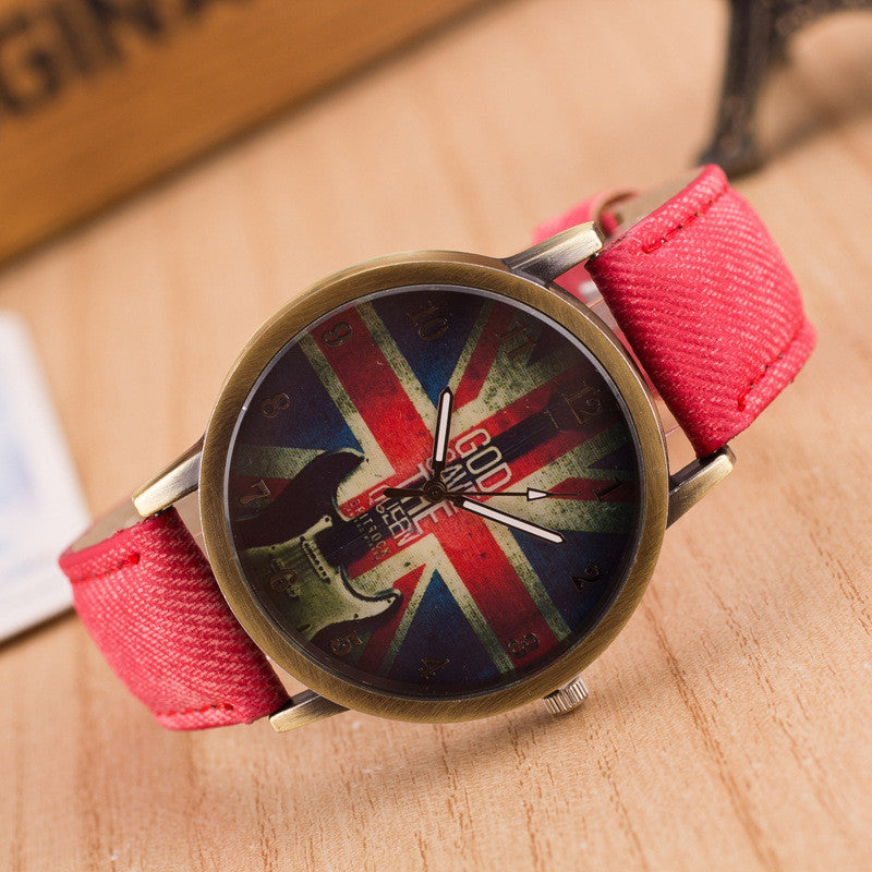 Denim Retro God Save Queen Watch - Oh Yours Fashion - 4