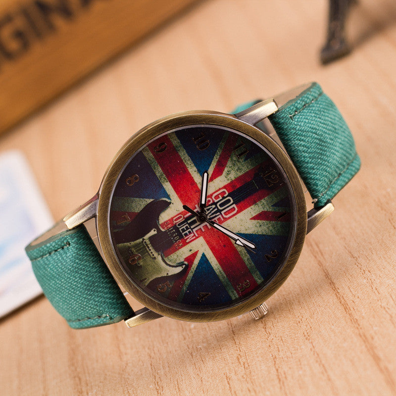 Denim Retro God Save Queen Watch - Oh Yours Fashion - 5