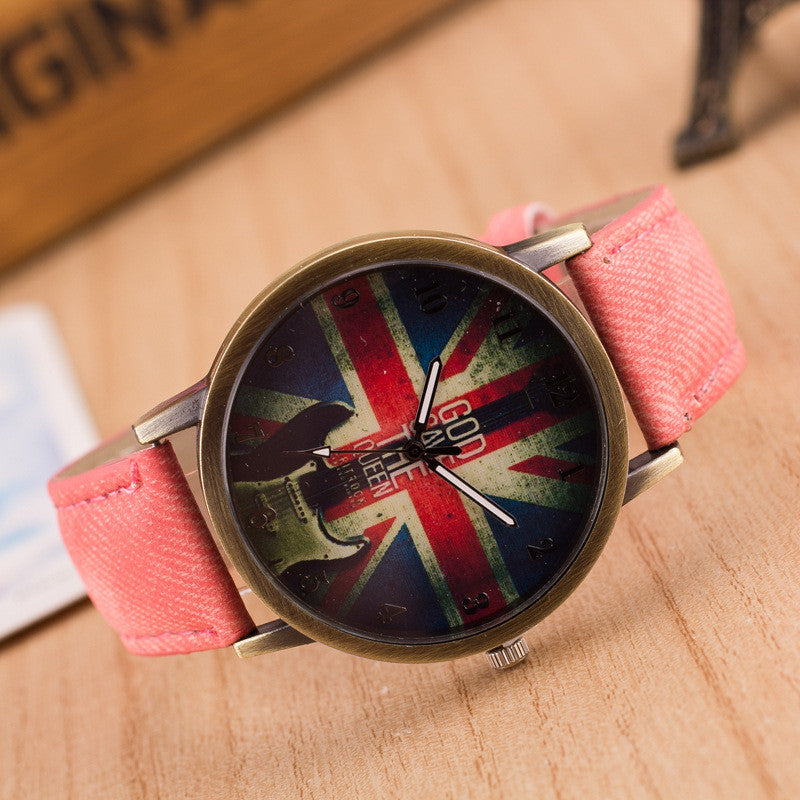 Denim Retro God Save Queen Watch - Oh Yours Fashion - 1