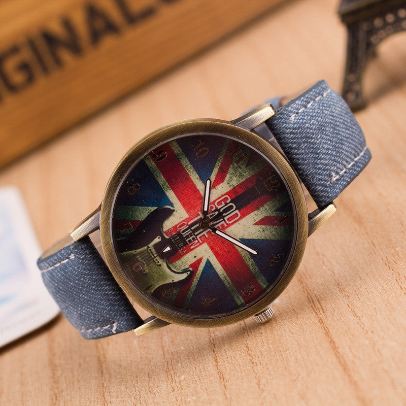 Denim Retro God Save Queen Watch - Oh Yours Fashion - 7