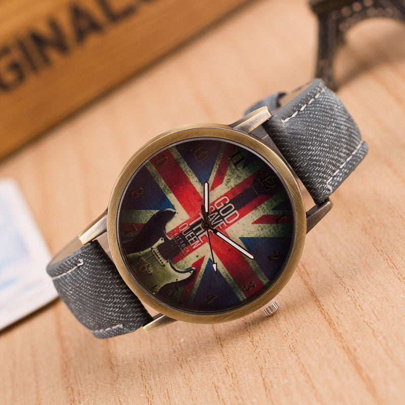 Denim Retro God Save Queen Watch - Oh Yours Fashion - 9