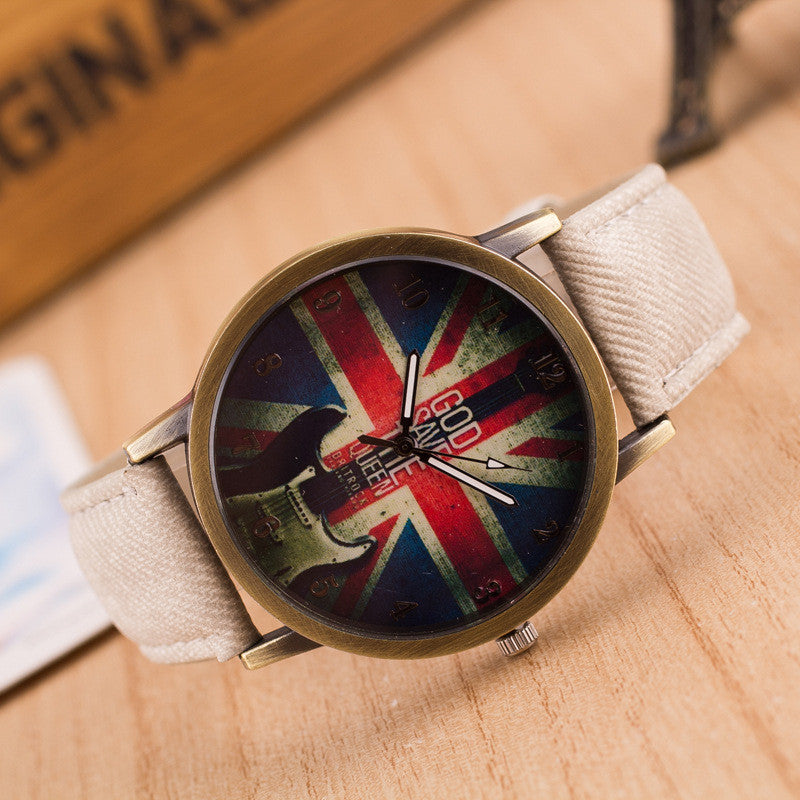 Denim Retro God Save Queen Watch - Oh Yours Fashion - 2