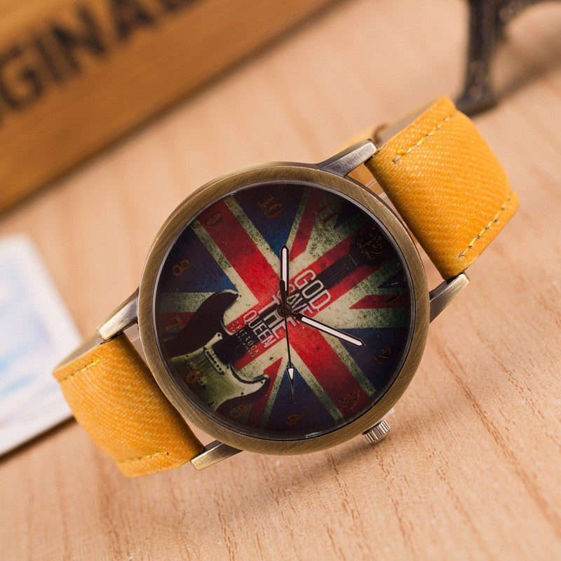 Denim Retro God Save Queen Watch - Oh Yours Fashion - 3