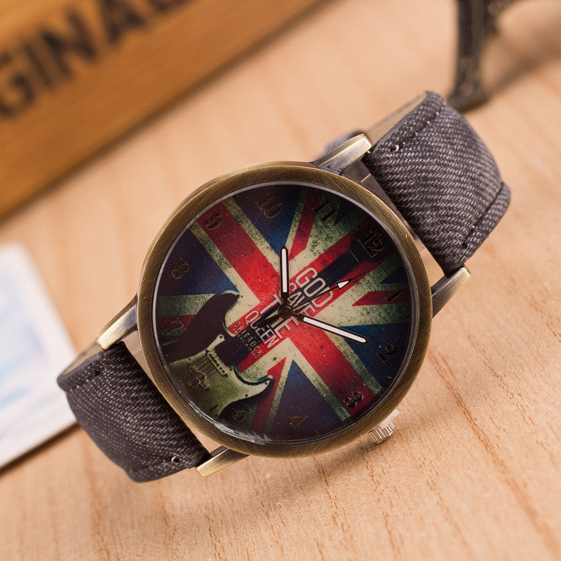 Denim Retro God Save Queen Watch - Oh Yours Fashion - 6