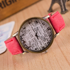 British Retro Denim Scrawl Watch - Oh Yours Fashion - 4