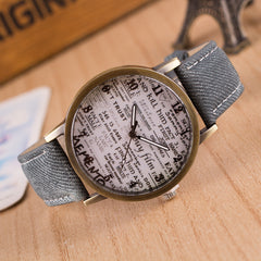 British Retro Denim Scrawl Watch - Oh Yours Fashion - 7