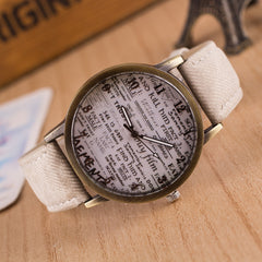 British Retro Denim Scrawl Watch - Oh Yours Fashion - 2