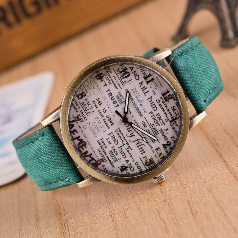 British Retro Denim Scrawl Watch - Oh Yours Fashion - 5