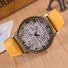 British Retro Denim Scrawl Watch - Oh Yours Fashion - 3