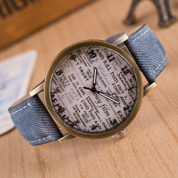 British Retro Denim Scrawl Watch - Oh Yours Fashion - 1