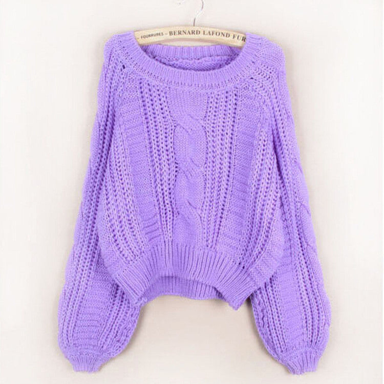 Cable Knit High-waist Loose Short Pullover Sweater - Oh Yours Fashion - 4