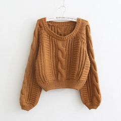 Cable Knit High-waist Loose Short Pullover Sweater - Oh Yours Fashion - 2