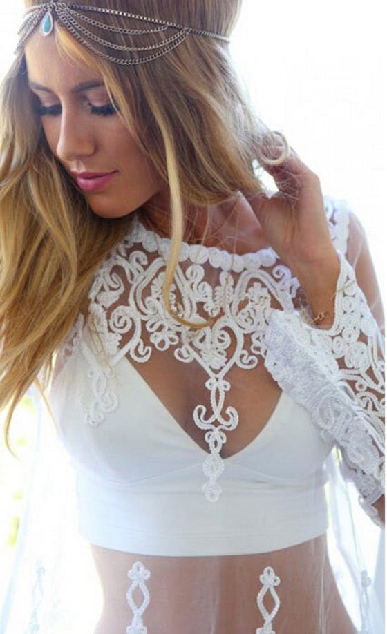 Lace Transparent Long Sleeves Beach Bikini Cover Up Dress - Oh Yours Fashion - 6