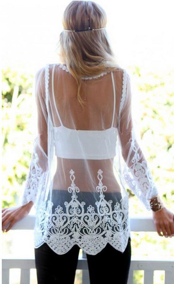 b7bf2d09779c7 Lace Transparent Long Sleeves Beach Bikini Cover Up Dress - Oh Yours  Fashion - 5