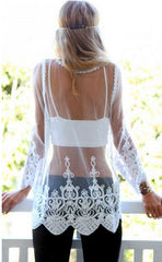 Lace Transparent Long Sleeves Beach Bikini Cover Up Dress - Oh Yours Fashion - 5